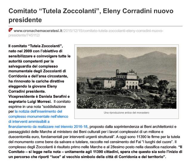 Eleny Corradini nuovo presidente del Comitato degli Zoccolanti di Corridonia